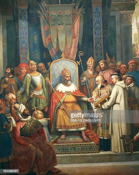 Charlemagne King of the Franks and Lombards and Emperor of the Holy Roman Empire receiving monk Alcuin Painting by JeanVictor Schnetz Paris Musée Du...