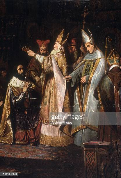 774 AD Charlemagne King of the Franks Christian emperor of the West Painting depicts the coronation of Charlemagne as king of Lombardy at Pavia in 774