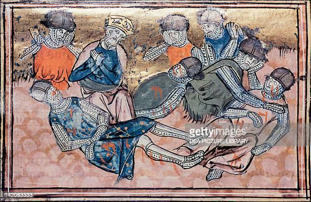 Charlemagne mourns Orlando's death miniature from the Great Chronicles of France manuscript France 14th Century