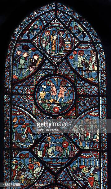 Charlemagne Window Cathedral of Chartres France c1225 Detail of a stained glass window