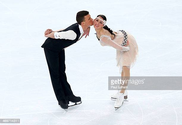 Charlene Guignard and Marco Fabbri Italy compete during the Figure Skating Ice Dance Short Dance on day 9 of the Sochi 2014 Winter Olympics at...