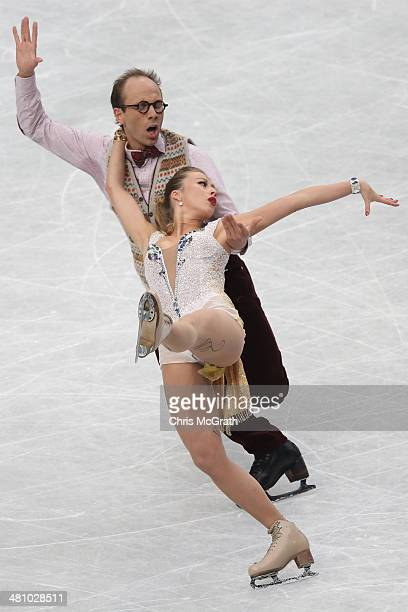 Charlene Guignard and Marco Fabbri of Germany compete in the Ice Dance Short Dance during ISU World Figure Skating Championships at Saitama Super...