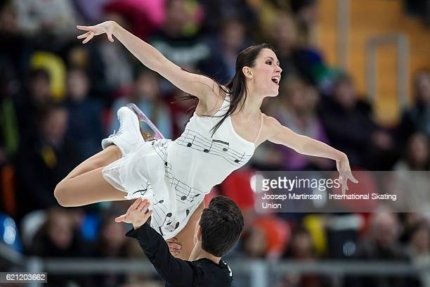 Charlene Guignard and Marco Fabbri of Italy compete during Ice Dance Free Dance on day two of the Rostelecom Cup ISU Grand Prix of Figure Skating at...