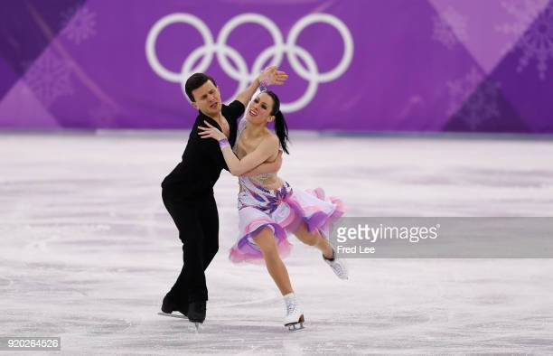 Charlene Guignard and Marco Fabbri of Italy compete during the Figure Skating Ice Dance Short Dance on day 10 of the PyeongChang 2018 Winter Olympic...