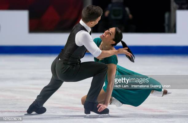 Charlene Guignard and Marco Fabbri of Italy compete in the Free Dance portion of the Ice Dance Competition on December 2018 at the ISU Junior Senior...