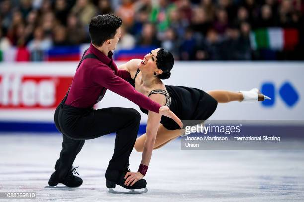 Charlene Guignard and Marco Fabbri of Italy compete in the Ice Dance Rhythm Dance during day three of the ISU European Figure Skating Championships...