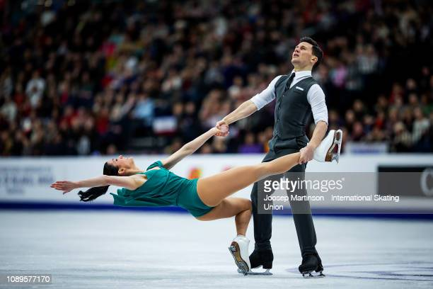 Charlene Guignard and Marco Fabbri of Italy compete in the Ice Dance Free Dance during day four of the ISU European Figure Skating Championships at...