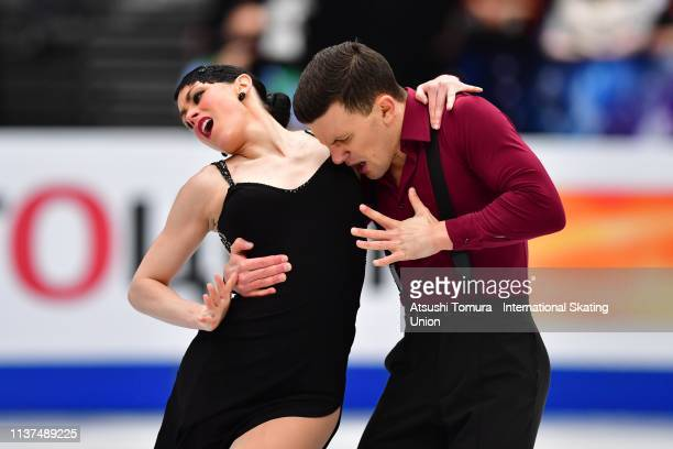 Charlene Guignard and Marco Fabbri of Italy compete in the Ice Dance Rhythm Dance on day three of the 2019 ISU World Figure Skating Championships at...