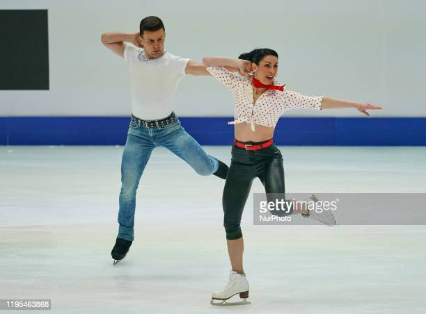Charlene Guignard and Marco Fabbri of Italy during Ice Dance at ISU European Figure Skating Championships in Steiermarkhalle Graz Austria on January...
