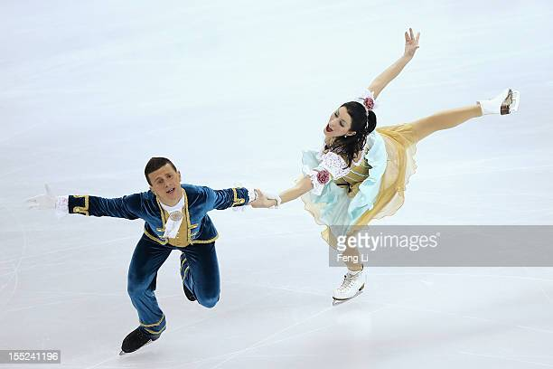 Charlene Guignard and Marco Fabbri of Italy skate in Ice Dance Short Dance during Cup of China ISU Grand Prix of Figure Skating 2012 at the Oriental...