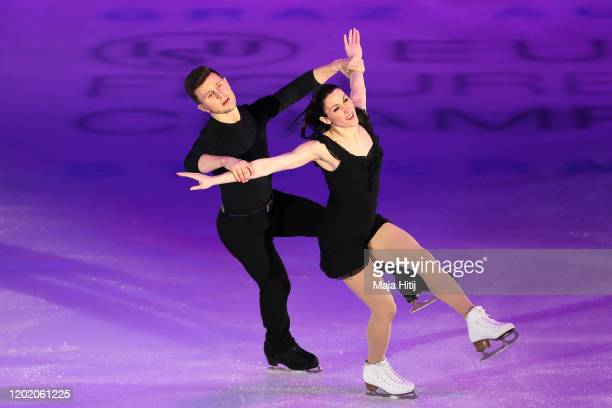 Charlene Guignard and Marco Fabri of Italy perform during the gala exhibition of the ISU European Figure Skating Championships at Steiermarkhalle on...