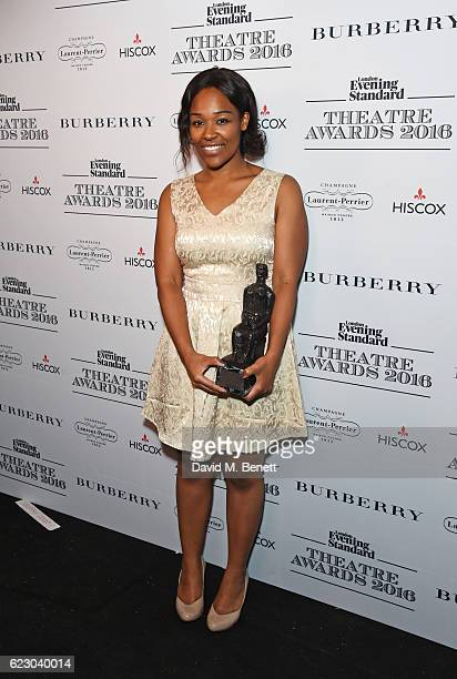 Charlene James winner of the Charles Wintour Award for Most Promising Playwright poses in front of the winners boards at The 62nd London Evening...