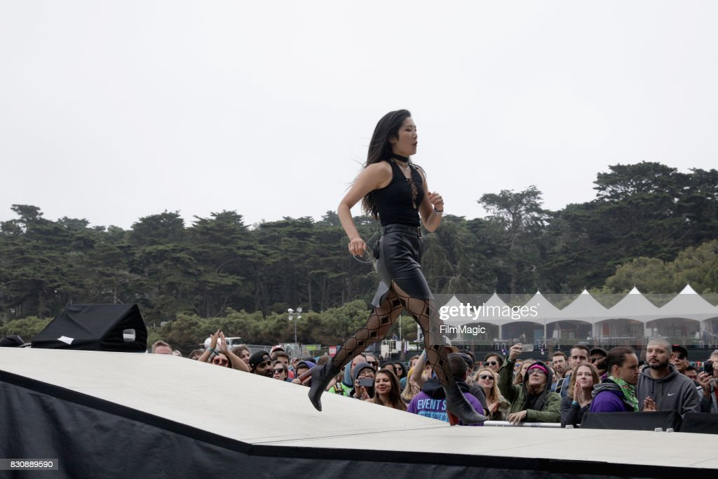 Charlene Kaye of San Fermin performs on the Lands End Stage during the 2017 Outside Lands Music And Arts Festival at Golden Gate Park on August 12, 2017 in San Francisco, California.