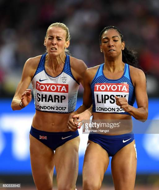 Charlene Lipsey of the United States and Lynsey Sharp of Great Britain compete in the Women's 800 metres semi finals during day eight of the 16th...