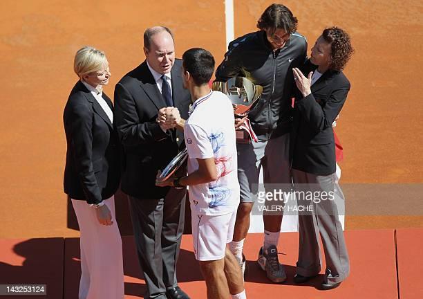 Charlene of Monaco and Prince's Albert II of Monaco congratulate Novak Djokovic of Serbia as Rafael Nadal of Spain talks with ElisabethAnne de Massy...
