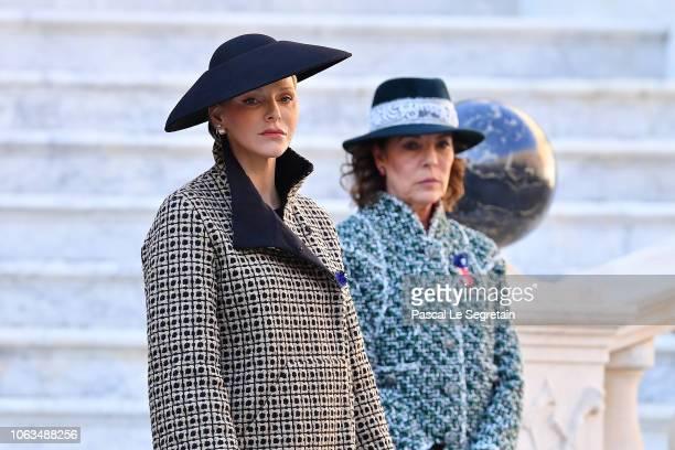 Charlene of Monaco and Princess Caroline of Hanover attend the Monaco National day celebrations on November 19 2018 in MonteCarlo Monaco