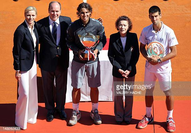 Charlene of Monaco Prince's Albert II of Monaco Rafael Nadal of Spain ElisabethAnne de Massy and Novak Djokovic of Serbia pose during the MonteCarlo...