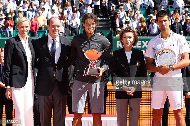 Charlene of Monaco Prince's Albert II of Monaco Rafael Nadal of Spain ElisabethAnne de Massy and Novak Djokovic of Serbia pose at the end of the...