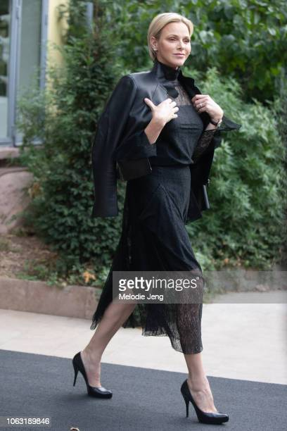 Charlene Princess of Monaco after the Akris show during Paris Fashion Week Spring/Summer 2019 on September 30 2018 in Paris France