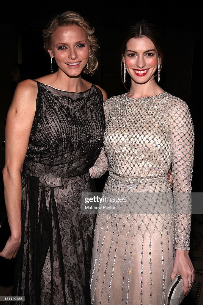 Charlene, Princess of Monaco (L) and actress Anne Hathaway attend the Princess Grace Awards Gala at Cipriani 42nd Street on November 1, 2011 in New York City.