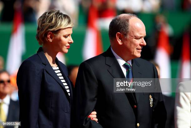 Charlene Princess of Monaco and Albert II Prince of Monaco during day eight of ATP Masters Series Monte Carlo Rolex Masters at MonteCarlo Sporting...