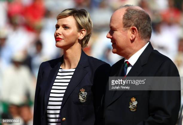 Charlene Princess of Monaco and Albert II Prince of Monaco look on after the final between Rafael Nadal of Spain and Kei Nishikori of Japan during...