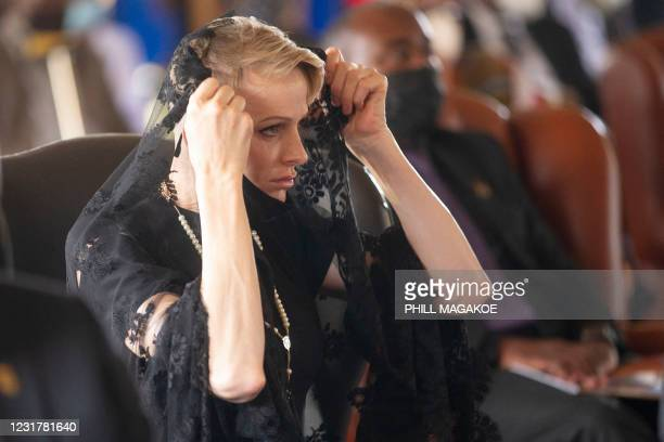 Charlene, Princess of Monaco reacts during the memorial service of King Goodwill Zwelithini at the KwaKhethomthandayo royal palace in Nongoma, South...