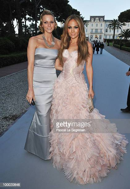 Charlene Wittstock and Jennifer Lopez arrives at amfAR's Cinema Against AIDS 2010 benefit gala at the Hotel du Cap on May 20 2010 in Antibes France