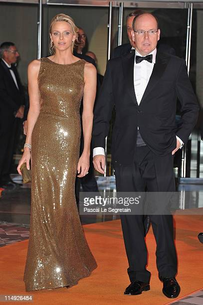 Charlene Wittstock and Prince Albert II of Monaco arrive to attend the Formula One Gala Dinner at the Monaco Sporting on May 29 2011 in Monaco Monaco