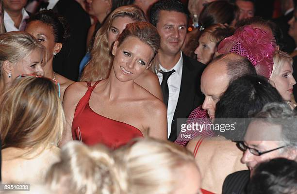 Charlene Wittstock and Prince Albert II of Monaco attend the 61st Monaco Red Cross Ball at the Monte Carlo Sporting Club on July 31 2009 in Monte...