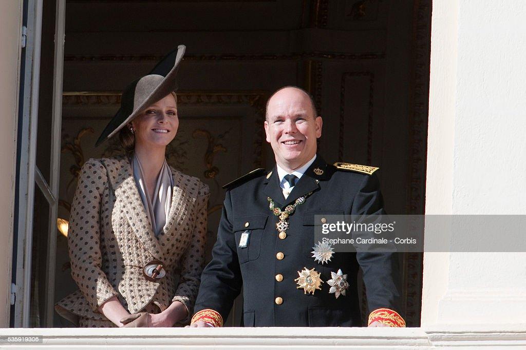 Charlene Wittstock and Prince Albert II of Monaco (R) attend the National Day celebrations on November 19, 2010 in Monaco.