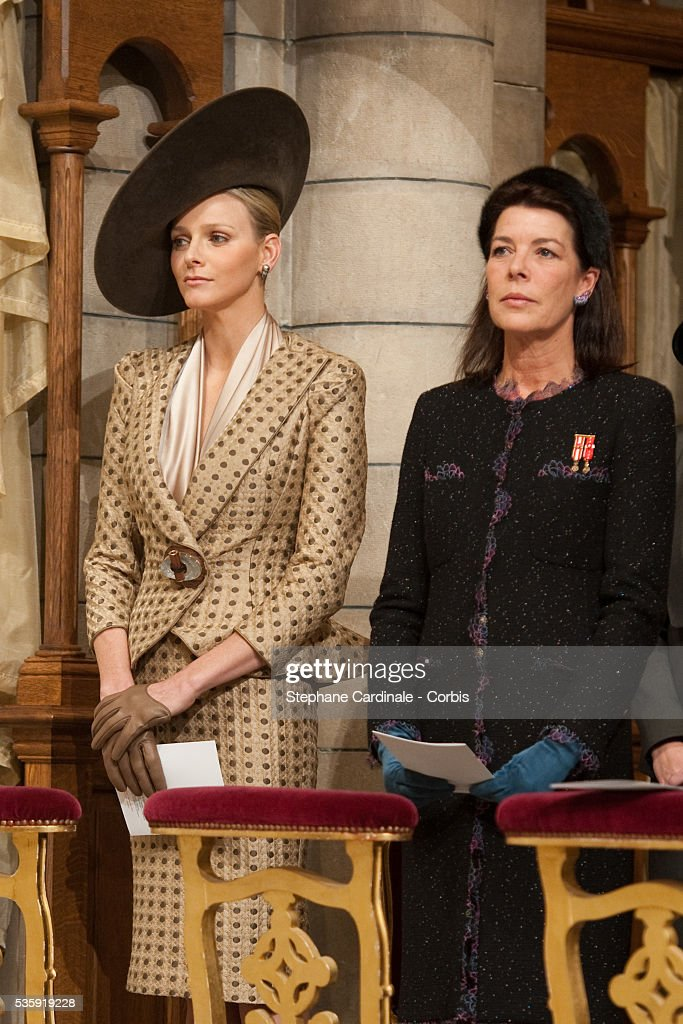 Charlene Wittstock and Princess Caroline of Hanover attend the annual traditional Thanksgiving Mass as part of Monaco National Day celebrations on November 19, 2010 in Monaco