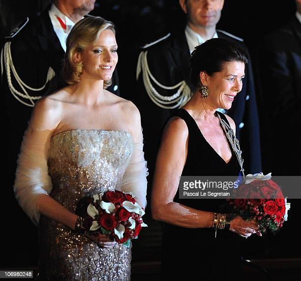 Charlene Wittstock and Princess Caroline of Hanover attend the Monaco National day Gala concert at Grimaldi forum on November 19 2010 in Monaco Monaco