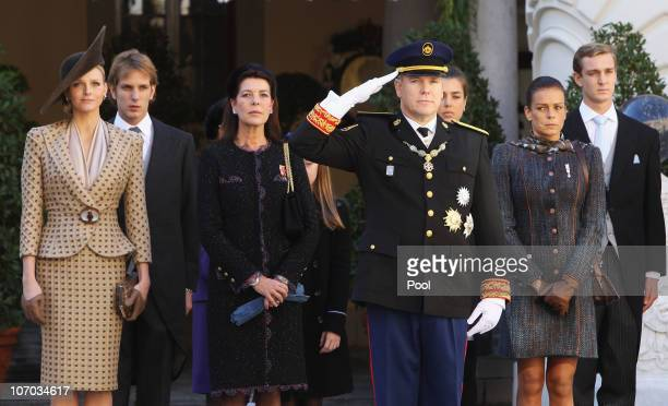 Charlene Wittstock Andrea Casiraghi Princess Caroline of Hanover Prince Albert II of Monaco Charlotte Casiraghi Princess Stephanie of Monaco and...