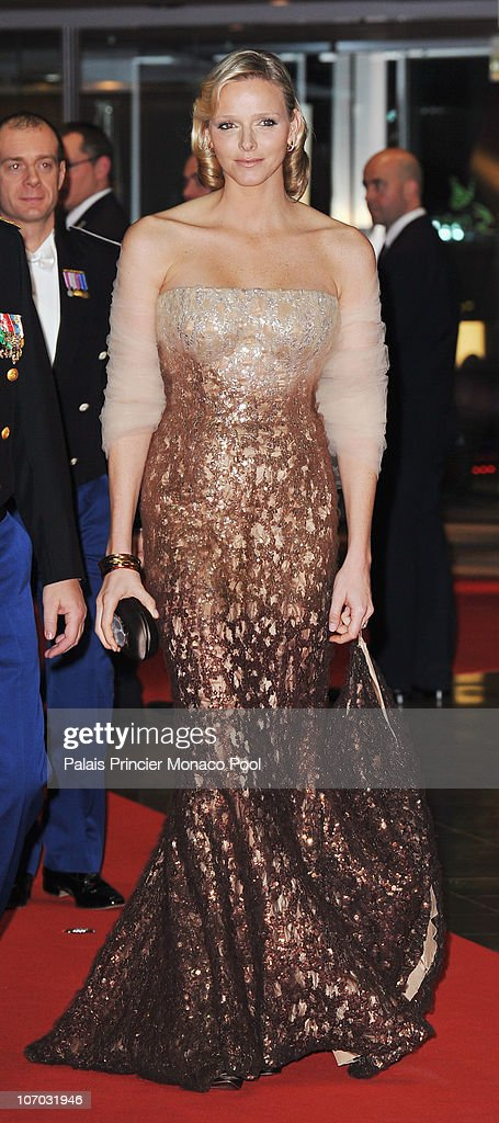 Charlene Wittstock arrives to attend the Monaco National day Gala concert at Grimaldi forum on November 19, 2010 in Monaco, Monaco.