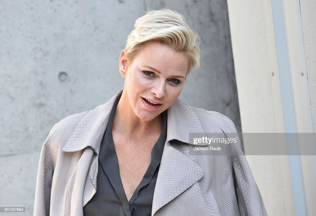 Charlene Wittstock attends the Giorgio Armani show during Milan Fashion Week Spring/Summer 2018 on September 22, 2017 in Milan, Italy.