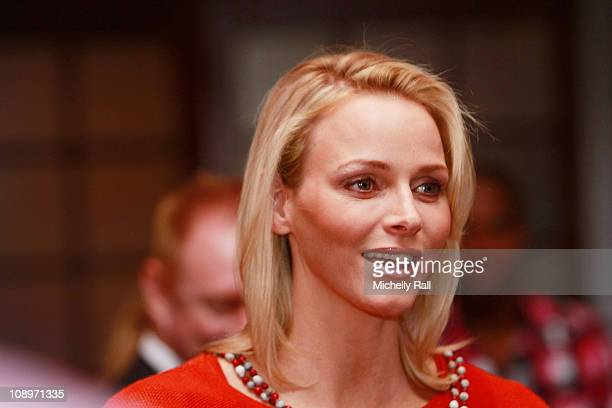 Charlene Wittstock attends the handing over of a cheque to the Special Olympics and the Prize Giving of the Speedo 10km Open Water Swimming...