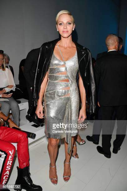 Charlene Wittstock attends the Versace show during Milan Fashion Week Spring/Summer 2018 on September 22, 2017 in Milan, Italy.