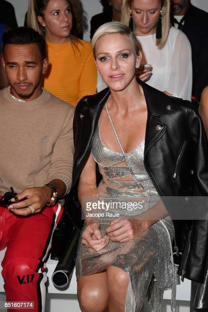 Charlene Wittstock attends the Versace show during Milan Fashion Week Spring/Summer 2018 on September 22 2017 in Milan Italy