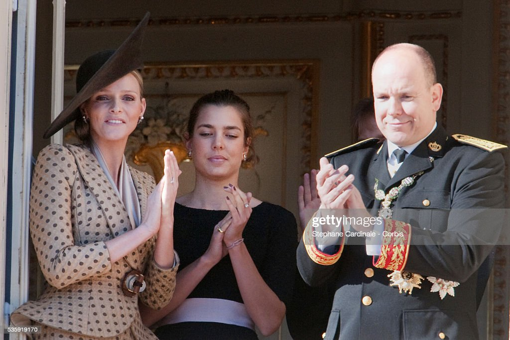 Charlene Wittstock, Charlotte Casiraghi and Prince Albert II of Monaco attend the National Day celebrations 2010 in Monaco.