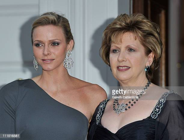 Charlene Wittstock fiancee to His Serene Highness Prince Albert II Of Monaco and Irish President Mary McAleese attend a State Dinner at Aras an...