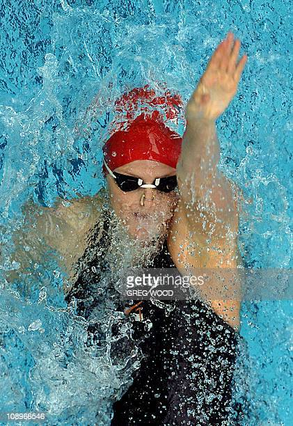 Charlene Wittstock from South Africa powers through her heat of the 50m Backstroke during the fifth leg of swimming's World Cup at the Melbourne...