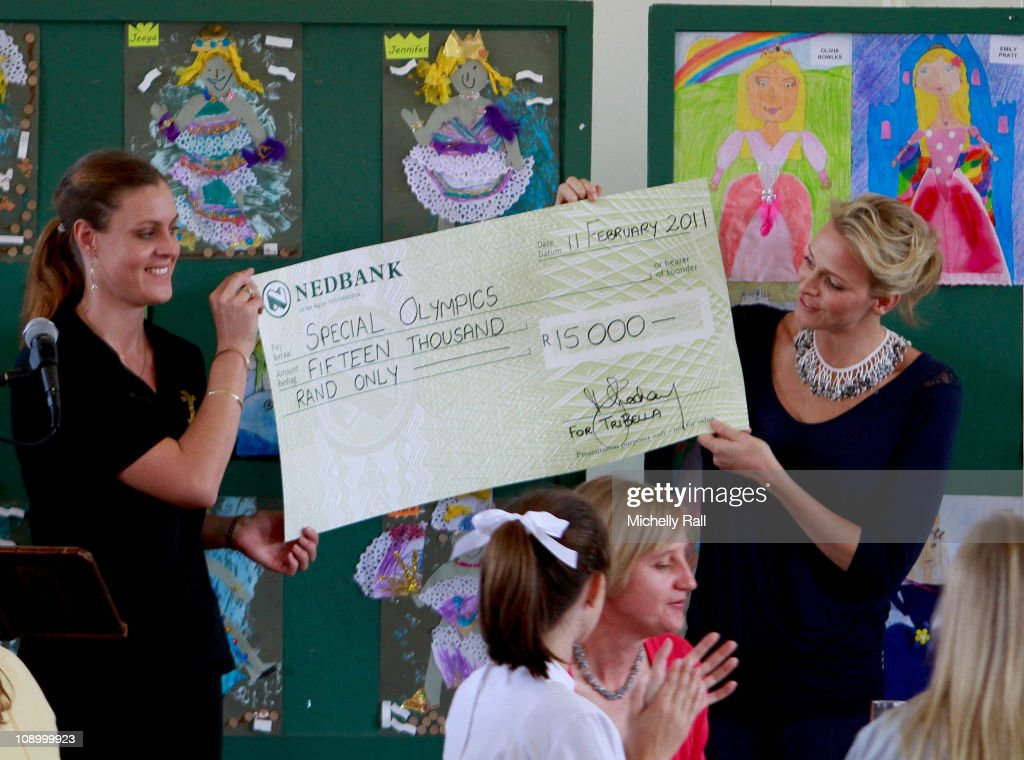 Charlene Wittstock, future Princess of Monaco (R), attends a charity breakfast to raise funds for the Special Olympics at St John's Diocesan School on February 11, 2011 in Pietermaritzburg, South Africa.