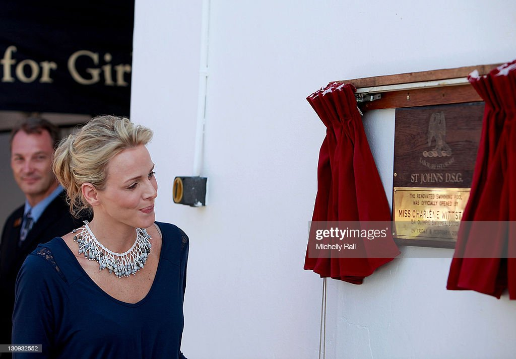 Charlene Wittstock, future Princess of Monaco, unveils a plaque during the opening of the school swimming pool during a charity fundraising breakfast in support of the Special Olympics at St John's Diocesan School on February 11, 2011 in Pietermaritzburg, South Africa.