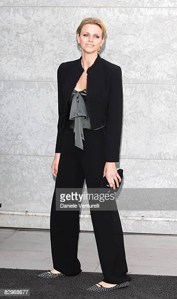 Charlene Wittstock girlfriend of Prince Albert of Monaco arrives at the Giorgio Armani fashion show at Milan Fashion Week Womenswear Spring/Summer...