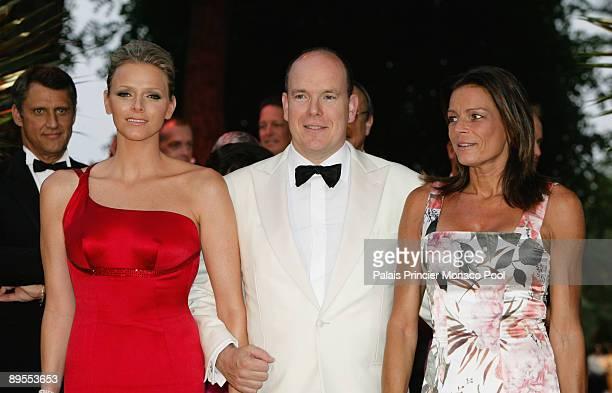 Charlene Wittstock HSH Prince Albert II of Monaco and HSH Princess Stephanie of Monaco arrive at the 61st Monaco Red Cross Ball at the MonteCarlo...