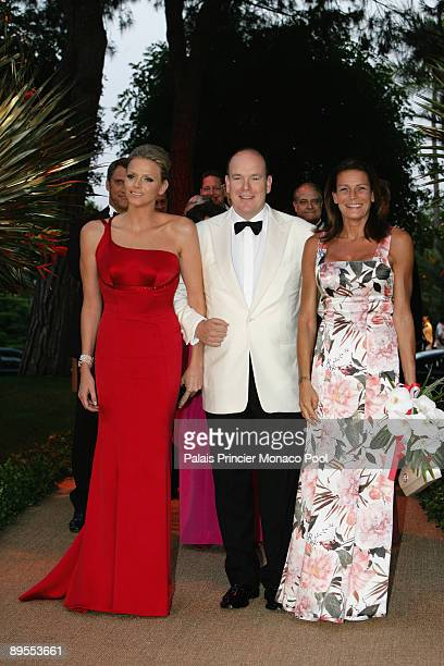 Charlene Wittstock HSH Prince Albert II of Monaco and HSH Princess Stephanie of Monaco arrive at the 61st Monaco Red Cross Ball at the MonteCarlo...