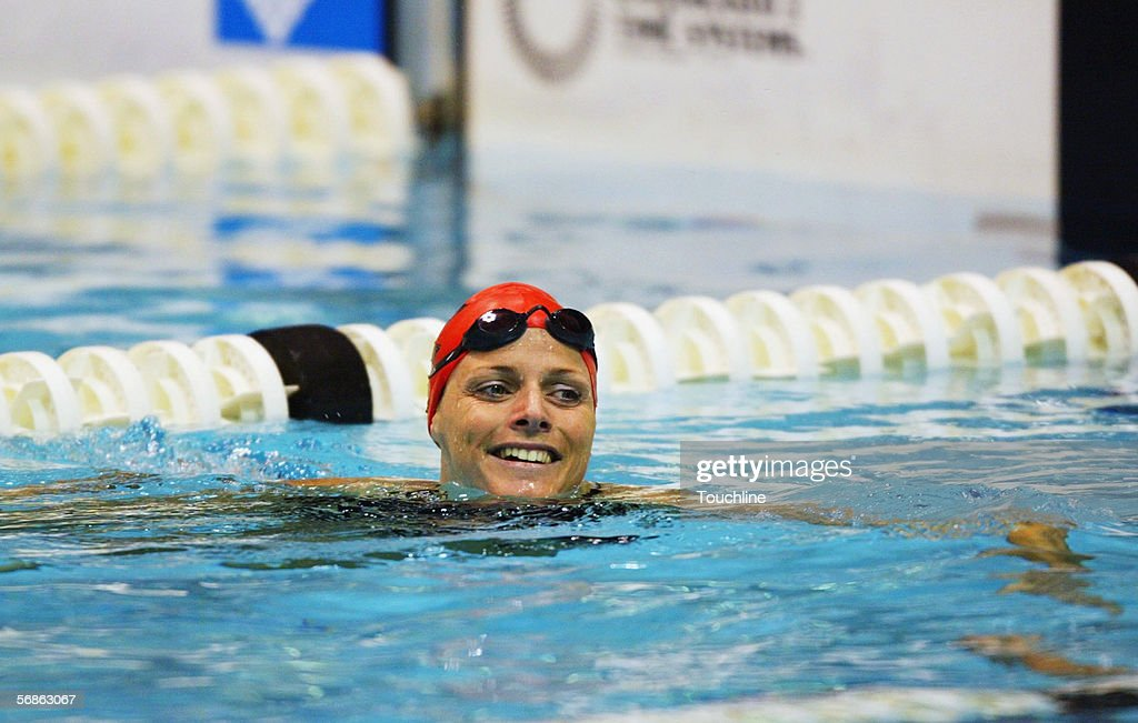 Charlene Wittstock of South Africa at the end of her race during the South African National Swimming Championships at Kings Park Aquatic Center on April 16, 2004 in Durban, South Africa.