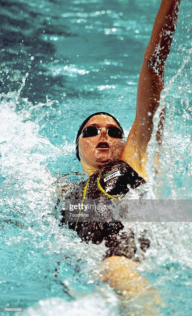 Charlene Wittstock of South Africa in action during the Women's 100 metres backstroke at the Olympic Aquatic Centre on September 17, 2000 during the 200 Olympic Games in Sydney, Australia.