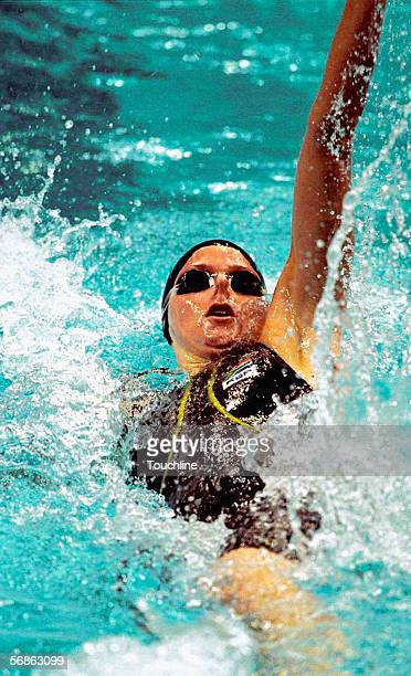 Charlene Wittstock of South Africa in action during the Women's 100 metres backstroke at the Olympic Aquatic Centre on September 17 2000 during the...